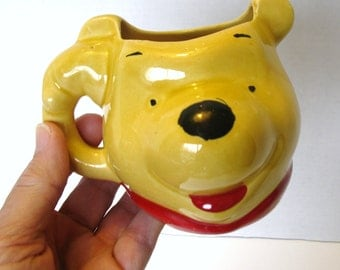 "Rare Vintage ""WINNIE THE POOH"" 3D Mug, Collectible Winnie The Pooh Cup, Unmarked"