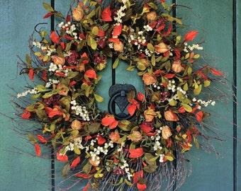 Fall Wreath, Pumpkin Spice - Chinese Lantern and Berry Wreath, Fall Leaves, Autumn Wreath, Harvest Wreath, Fall Decor, Front Door Wreath