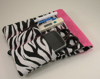 Lab Coat Pocket Organizer /Scrubs Pocket Organizer / Cargo Pocket Organizer/ Black/ White Zebra with choice of size and color - Med Student