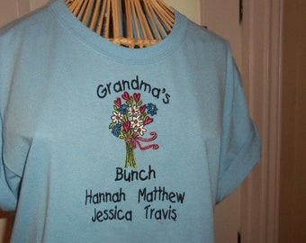 T-Shirt with Grandma's Bunch Personalized Design
