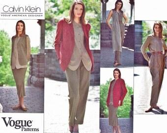 1990s Vogue 1236 Uncut (8-12) Career Wardrobe Pattern Casual Office Separates CALVIN KLEIN Designer 1993 Womens Vintage Sewing Pattern UNCUT