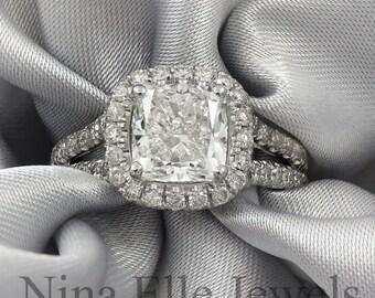 Cushion cut split shank diamond engagement ring C28