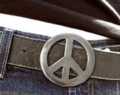 Peace Sign Metal Belt Buckle by WATTO Distinctive Metal Wear