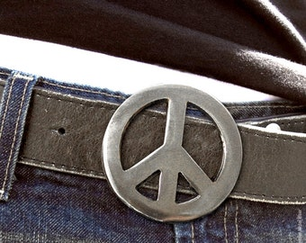Peace Sign Metal Belt Buckle by WATTO Distinctive Metal Wear