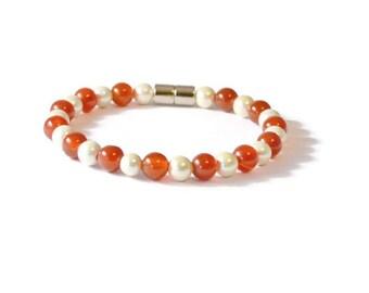 Carnelian and Cream Pearl Magnetic Hematite Bracelet, Therapy Jewelry, Arthritis Relief