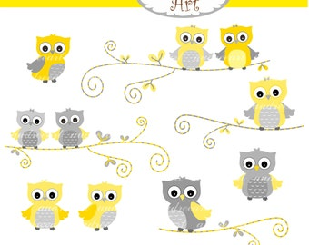 Owl clip art , cute owls on the branch, yellow owl, yellow and grey owls, baby owls , color owls, owl , instant download