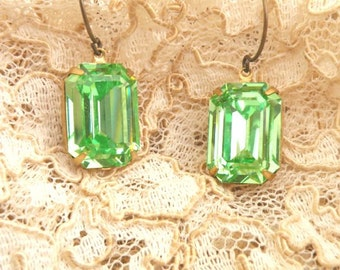 green rhinestone dangle earrings jewel swarovski