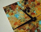 Copper Patina Art Clock -  Macro Print Unique Modern 1645
