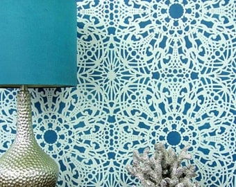 Stephanie's Lace Allover Stencil - Reusable stencils for  DIY wall decor - better than wallpaper!