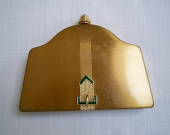 Vintage Purse Formal Volupte Brass Carry All Model 1950's USA Rare Compact