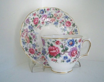 Vintage Serving Teacup Crown Staffordshire Bone China Teacup and Saucer Made in England