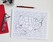 Custom, Personalized State Print, State Love, State Map, United States, Nation, Continent, Silhouette, 8 x 10, 5x7, 11x14 art print