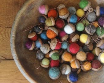 Felted Wool Acorn Ornaments or Acorns, Set of 100, You pick the Colors, custom natural eco friendly favors decor