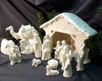 Ceramic Nativity Creche Scene Mother of Pearl