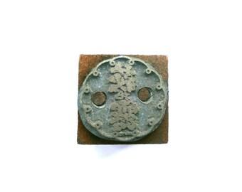 Vintage Japanese Metal Stamp - Vintage Metal Stamp - Sake Drink Brand Logo Stamp in Japan Dew of Japanese Bush Clover