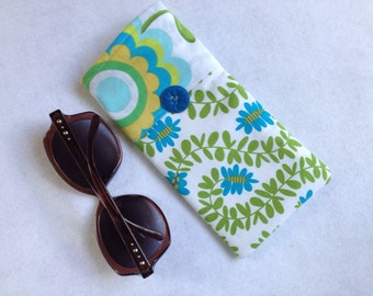 Sunglasses Case, large size glasses sleeve, lime green, white and turquoise blue Pillow and Maxfield cotton,  eyeglass cozy, soft case