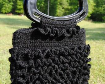 Black Crochet Ruffle Purse, Crochet Ruffle Purse, Black Purse, Retro Crochet Purse