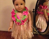 18 Inch American Girl Doll Clothes Hot Pink Hula Costume For Kanani Ready to Ship