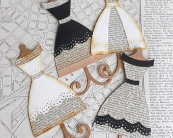 dress form die cuts- recycled book paper collection