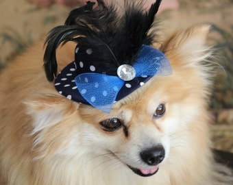 Dog hat with polka dot print feather and bow
