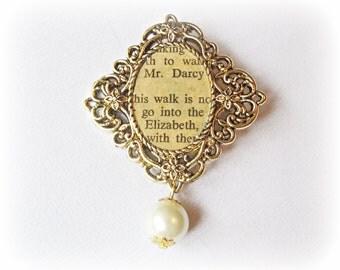 Pride and Prejudice Bridal Bouquet Pin Jane Austen Mr Darcy Brooch Literature Cream Ivory Pearl Vintage Bold Swirls Text Cameo Jewellery