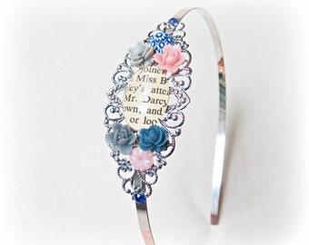 Jane Austen Headband Pride and Prejudice. Mr Darcy Antiqued Silver Filigree Glass. Literature Bridal Wedding Geekery Words. Navy Grey Pink