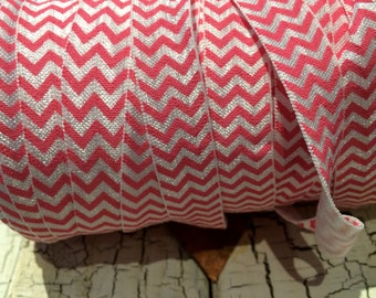 "5/8"" Hot PINK and WHITE Chevron fold over elastic FOE sold by the yard"