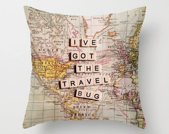 Decorative pillow cover, Photo pillow,18x18 or 22x22, travel pillow,map,typography,quote,cushion,decorator pillow