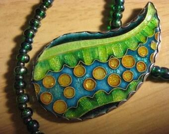 Flow of life 2 - Cloisonne Enamel Pendant on a necklace