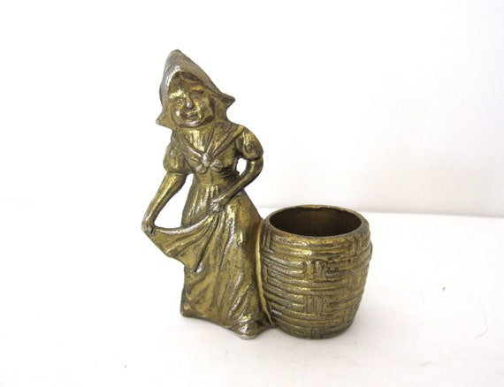 Vintage brass figural girl toothpick holder or by - Toothpick holder for purse ...