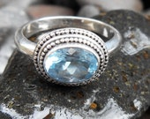 Balinese Sterling Silver Topaz  Ring / silver 925 / request size / size 7.5  ready to ship / Bali Handmade Jewelry