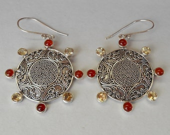 Balinese Granulation art.  Sterling Silver Carnelian Citrine gems dangle Earrings / 2 inches long / silver 925 /  handmade jewelry / (#217m)