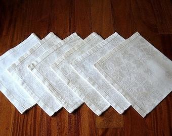 DAMASK Napkins for Tablecloth Replacement Vintage Linen Hemstitched Ivory Set