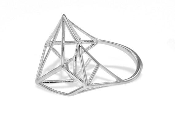 Geometric Silver Ring, Unique Geometric Ring, Geo Silver Ring, Architecture Silver Ring, Bridal Jewelry, Designer Silver Ring