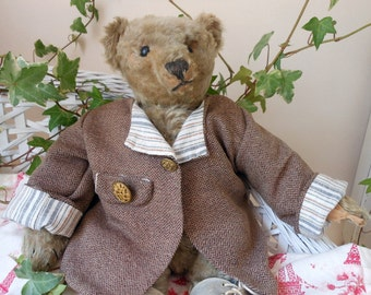 Wonderful herringbone handmade coat for your bear vintage style with trim and buttons BearWear