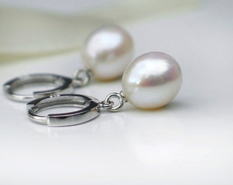 White Pearl Earrings | Freshwater Oval Drop Pearls in Rhodium Sterling Silver Huggie Hoops | June Birthstone | Gift for Her | Made to Order