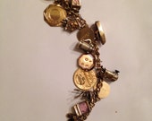 Vintage 50s Gold Filled Loaded Charm Bracelet with 16 CharMs