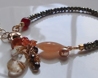 Rutilated Quartz Bracelet Pyrite Rondelles Peach Moonstone Bracelet Gem Cluster Dangle Gold Filled Bracelet