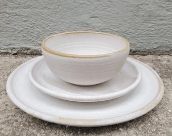 Wedding Registry, Bridal Registry, White Pottery, Pottery Registry, Ceramic Place Setting, Dinner Set, DInnerware, Tabletop, Wedding Dishes