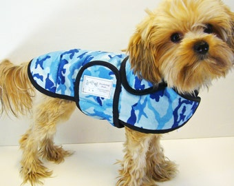 Blue Camo Minky Dog Coat  20 dollars to 50 dollars depending on the size by Doodlebug Duds
