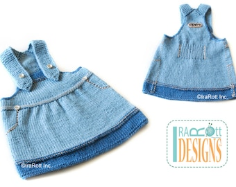 SALE - Jeans Inspired Hand Knit Denim Jump Dress  for 3-6 months READY to SHIP