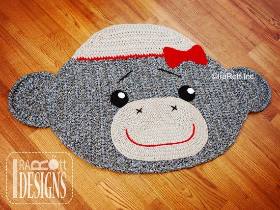 SALE Handmade Crochet Classic Sock Monkey Rug with Bow by ...