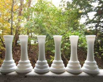 Vintage Milk Glass Vases set of 6 Matching Collection