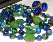 reserve4erica only-INCREDIBLE- vintage HATTIE CARNEGIE demi parure- earrings - 2row necklace - giant  glass beads italy crafted