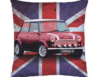 Personalised childrens union jack mini car cushion / pillow