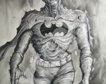 Zombie Batman. Print of original charcoal drawing