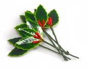 Lacquered Holly Leaves Berries Pick Green Red Christmas Floral Millinery Vintage - W2960