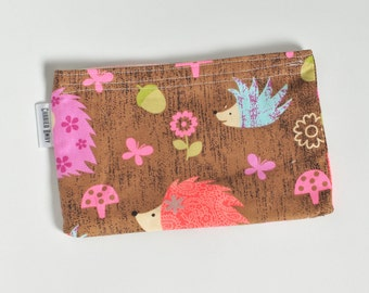 Eco Friendly Snack Bag All Cotton - Hedgehogs