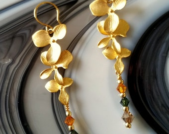Cascading Gold Plated Orchids, Swarovski CrystGold Pierced Earrings