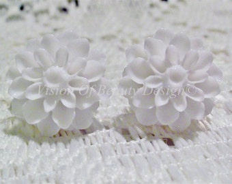 White Dahlia Chrysanthemum Flower Post Earrings. Choose your colors, Clip On Available